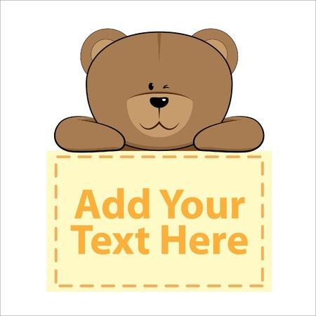 oso caricatura: Oso lindo con banner de abajo se