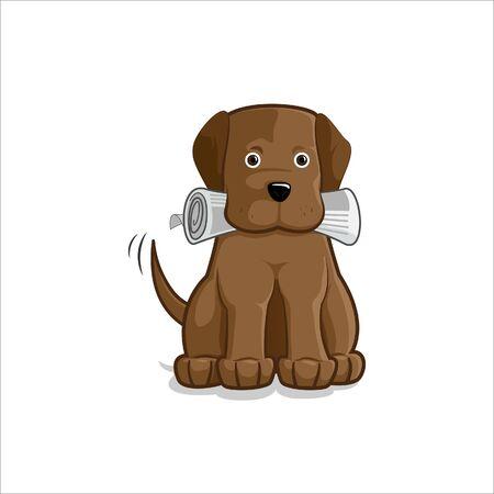 perro labrador: Brown perro labrador lleva un peri�dico en la boca