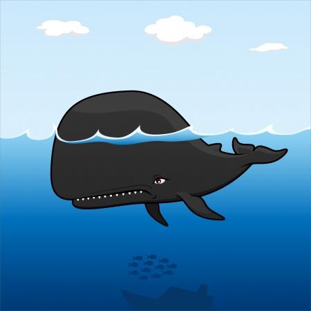 una balena feroce nell'oceano