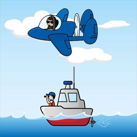 jobs cartoon: Routine patrol at sea and on the air