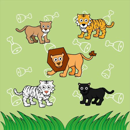 big cat family with cute meat background Vector