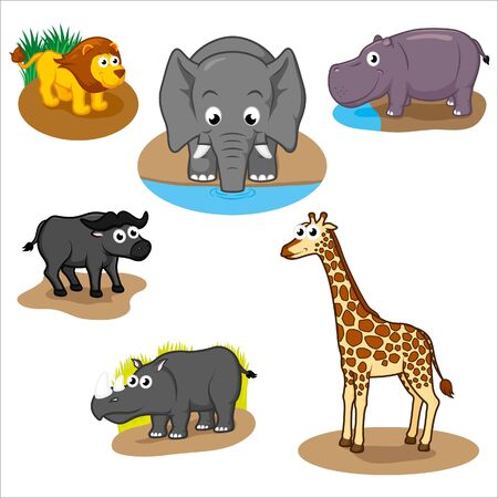 Animali africani di cui Vettoriali