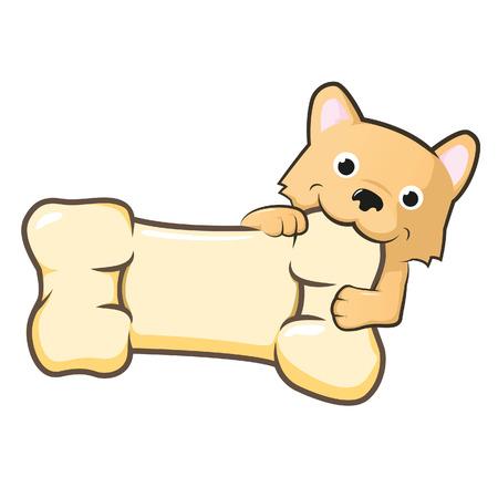 simpatico cane con grande osso Vettoriali