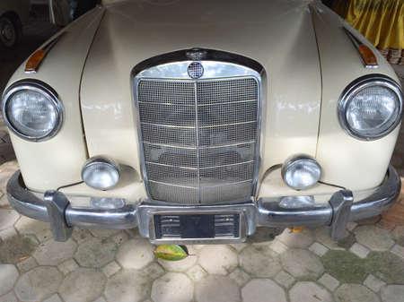 white: White vintage car