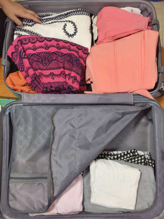 apparel: Travel packing Stock Photo