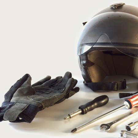 clothing: Moto bike accessories isolated on white background. Stock Photo