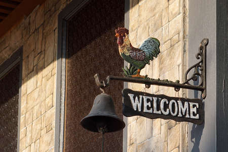 colour: Welcome chicken sign Stock Photo