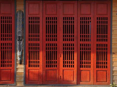 white: Red doors Stock Photo