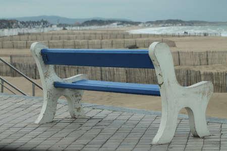calais: Empty bench on Calais France Sea Front