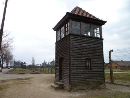 birkenau: Guard tower at Birkenau Poland  Stock Photo