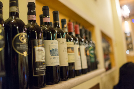 A row of wine Editorial