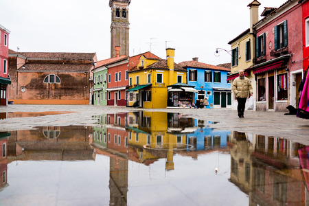 inverted: Inverted image of building at Burano Editorial