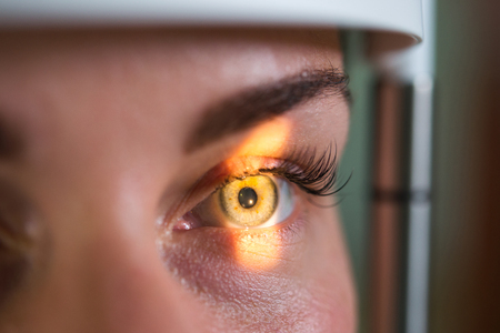 Research and scanning eye, close-up photos, retinal diagnostics in ophthalmology