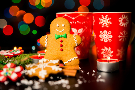 christmas card gingerbread man gingerbread christmas decor snow candles cup with - Gingerbread Man Christmas Decorations