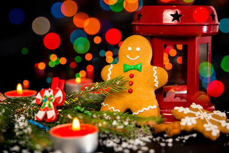 christmas card gingerbread man gingerbread christmas decor snow candles and christmas light