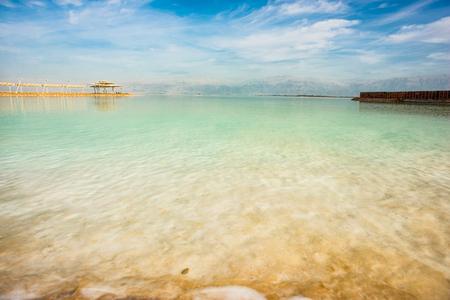 Coast of the Dead Sea, sea water and salt close up