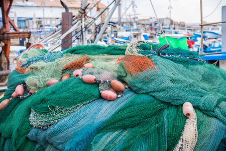Fishing nets and other gear on the boat
