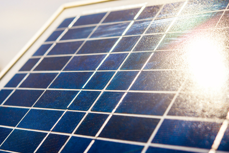 Solar elements closeup with sunbeam on surface. Structure, background, pattern.