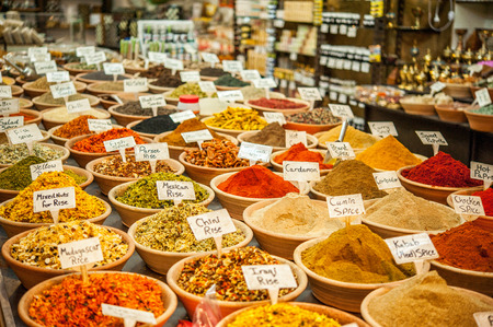 Various eastern spices, herbs and seasonings for different dishes in the shop