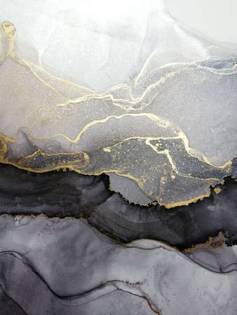 Luxury abstract fluid art painting background alcohol ink black color and shades of gray with gold. Marble texture