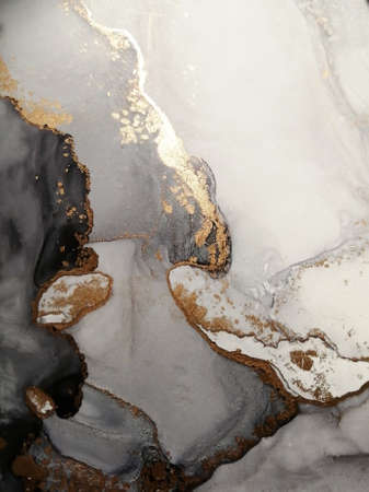 Luxury abstract fluid art painting background alcohol ink technique, dark black colors and shades of gray with gold glitter. Marble texture.