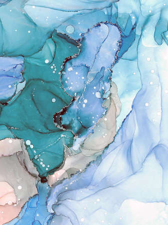 Abstract fluid art painting. Transparent overlayers of alcohol inks of blue and green ombre colors.