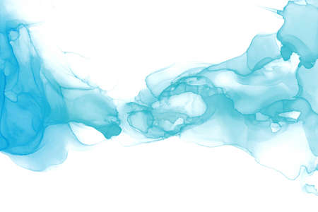 Abstract fluid art painting. Transparent overlayers of alcohol inks of blue and mint ombre colors.