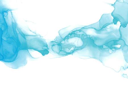 Pintura de arte abstracto fluido. Superposiciones transparentes de tintas alcohólicas de colores ombre azul y menta.