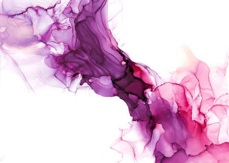 Abstract fluid art painting. Transparent overlayers of alcohol inks of purple and maroon ombre colors.