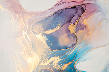 Luxury abstract fluid art painting background alcohol ink technique turquoise and lilac with gold glitter. Marble texture