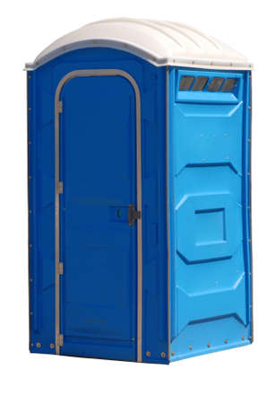 portable johnny on the spot or outhouse isolated on white Stock Photo