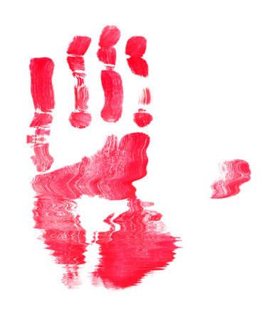 빨간색 얼룩이 진된 손 인쇄의 추상