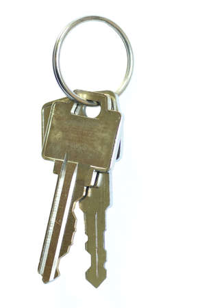 key ring with two keys isolated on white