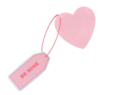heart with note attached saying BE MINE