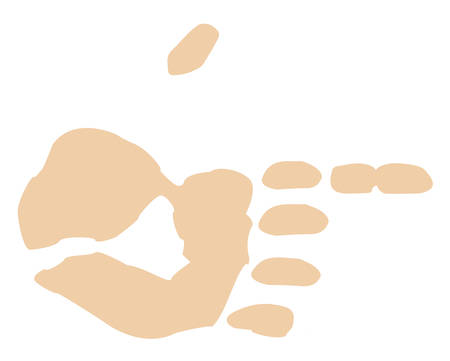 flesh colored finger print pointing - vector