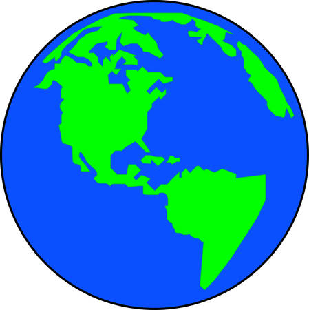 blue and green simplistic version of the globe - vector