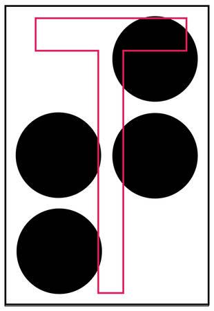 Lettre de l'alphabet en braille t - vecteur Banque d'images - 2501108