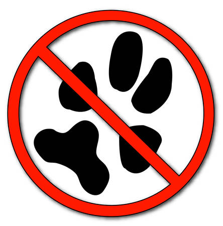 paw print with not allowed symbol - no pets allowed - vector