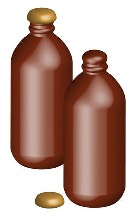 two stubby beer bottles - one with cap open - vector