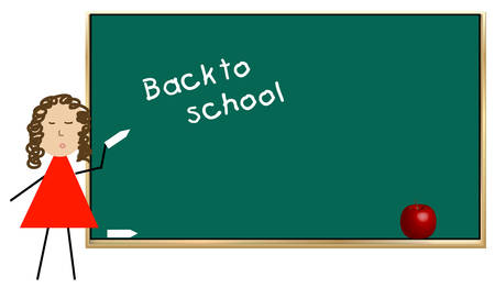 teacher or student writing back to school on chalkboard - vector Stock Vector - 2516376