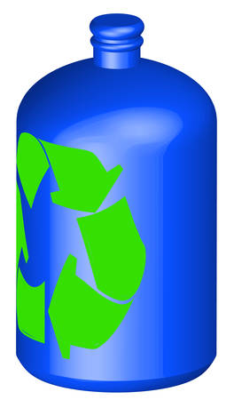 3d illustration of a recycleable plastic bottle - vector 矢量图像