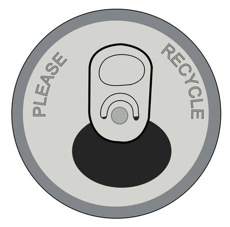 open pop or soda can with please recycle on lid - vector