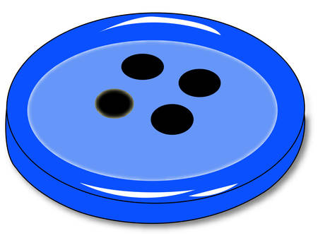 blue four hole clothing button - vector