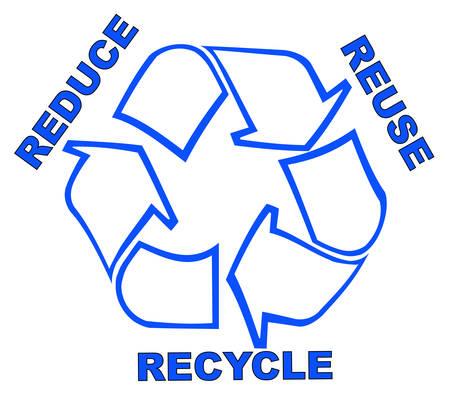 Recycling-Symbol mit Worten reduzieren Wiederverwendung Wiederverwertung  Vektorgrafik