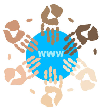 mixed race hands connecting on internet globally - vector