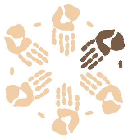 group of hands working together showing visible minority - vector