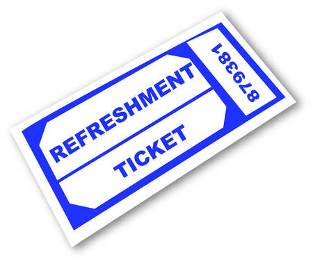 blue refreshment ticket on white background - vector