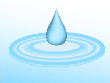 3D-droplet van water vallen in puddle - vector