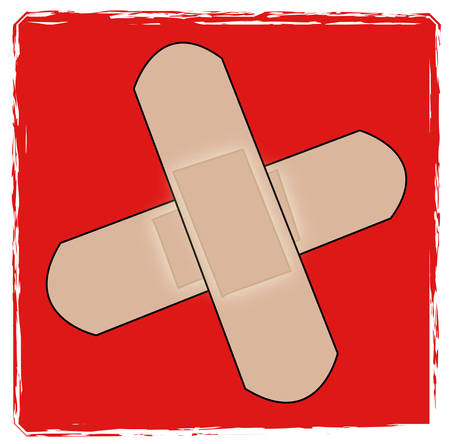 first aid cross with bandaids - vector illustration