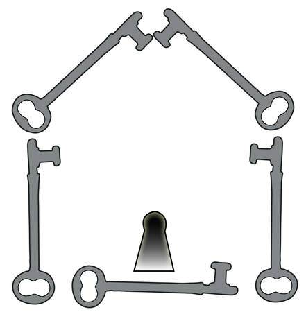 house illustration made from antique keys - vector